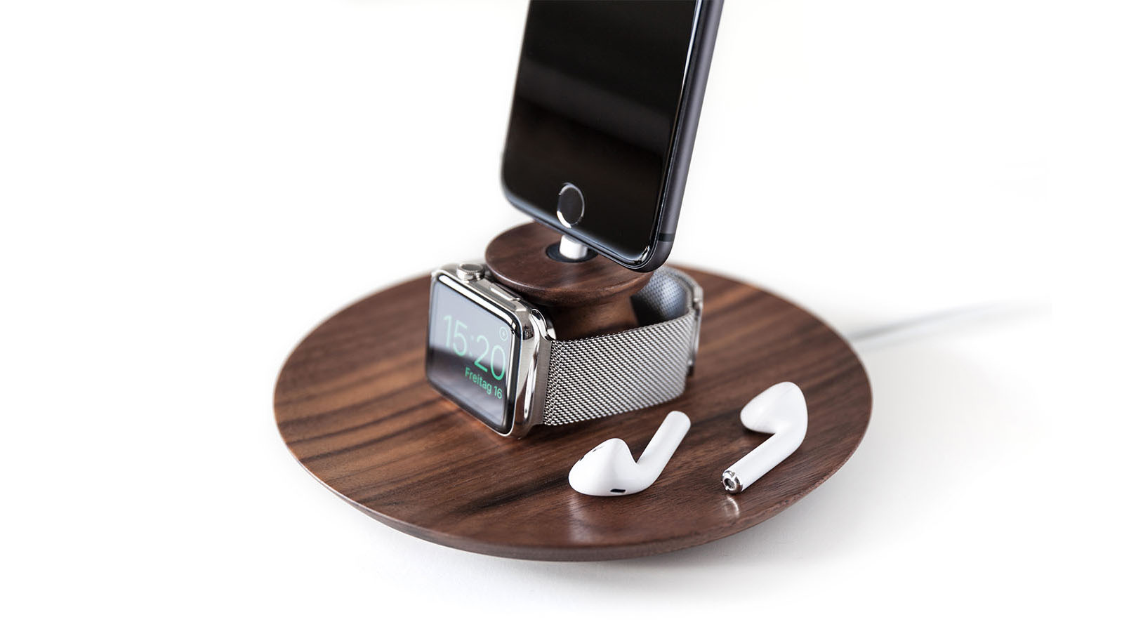 af48877aa Wooden iPhone and Apple Watch Charging Stand