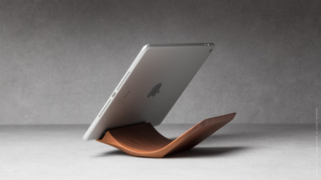 03 yohann product YA1WA ipad stand normal size walnut wood position 2 with ipad in landscape mode