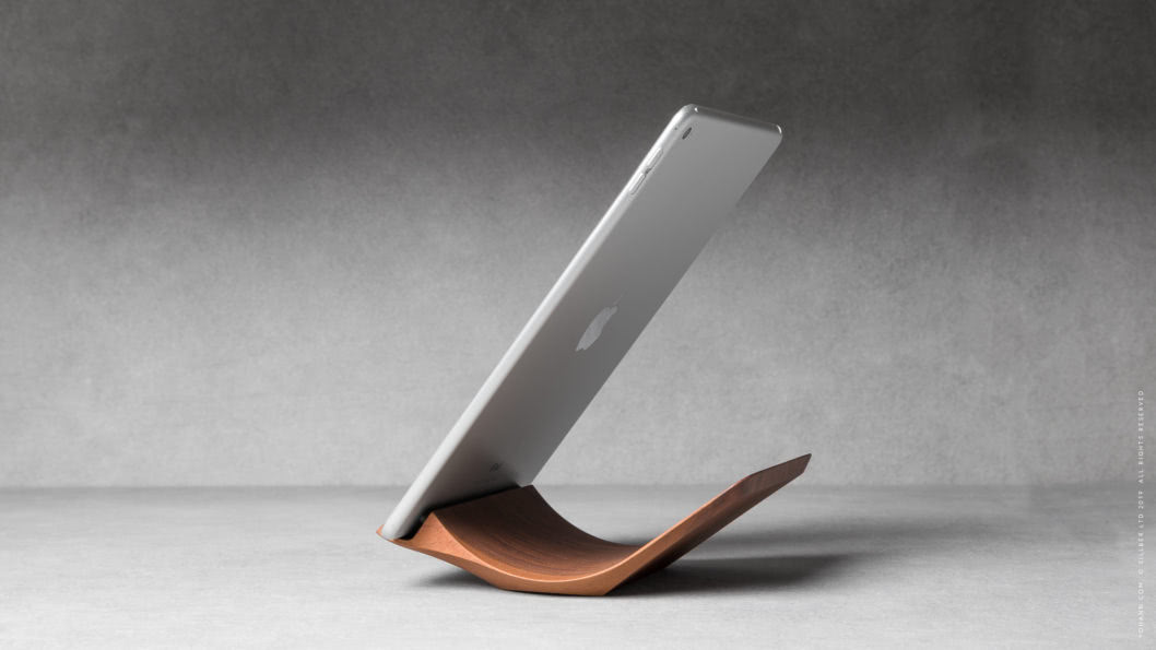 07 yohann product YA1WA ipad stand normal size walnut wood postion 2 with ipad in portrait mode 1