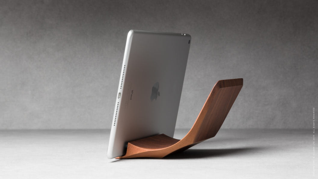08 yohann product YA1WA ipad stand normal size walnut wood position 1 with ipad in landscape mode 1
