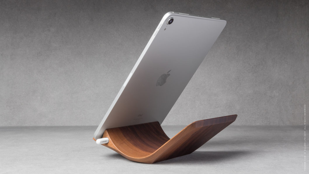 09 yohann product YP1WA ipad pro stand with apple pencil holder large size walnut wood in position 2 with ipad pro in portrait orientation