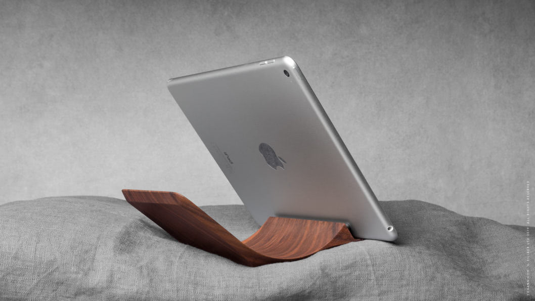 10 yohann product YA1WA ipad stand normal size walnut wood with ipad in bed 1