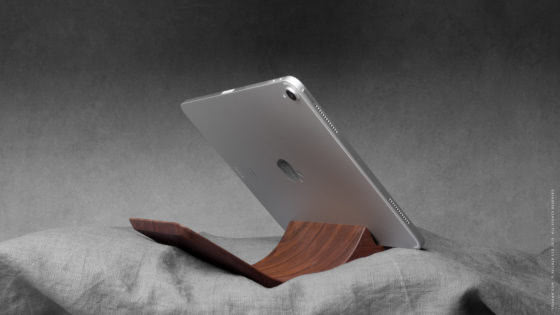 10 yohann product YP1WA ipad pro stand with apple pencil holder large size walnut wood with ipad pro in bed