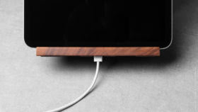 12 yohann product YP1WA ipad pro stand with apple pencil holder large size walnut wood front view ipad pro charging